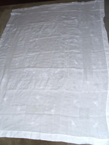 Large Antique Swiss Appenzell Linen White Tablecloth 62 X 85