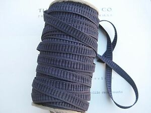 10yd Beautiful Vintage Pleated Rouched Navy Eggplant Rayon Ribbon 5 16 Unused