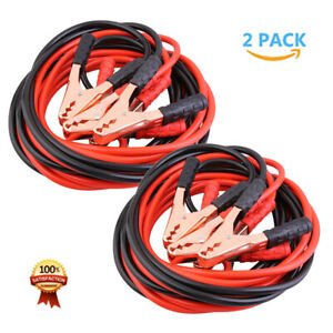 2x 13ft 4 Gauge Heavy Duty Power Booster Cable Emergency Car Battery Jumper