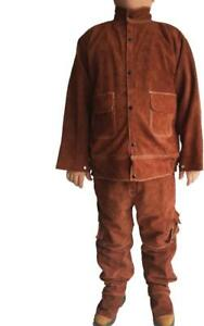 Leather Welding Brown Jacket Coat Trousers Protective Clothing Suit For Welder T