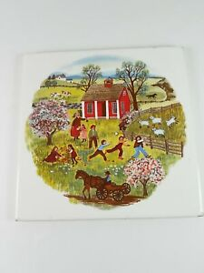 Franciscan Ceramic Art Tile School Yard Scene