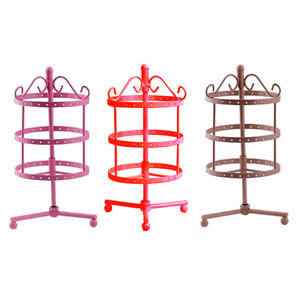 3pcs Set Iron Rotating Metal Jewelry Display Rack Earrings Storage 3 tier
