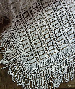 Antique French Pure Fine Cotton Hand Made Bed Cover Finest Stitches 64 X 55