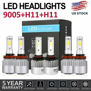 3sets Combo H11 9005 H11 Led Car Drl Headlight Kit High Low Beam Fog Bulb
