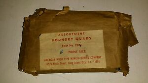 Vintage Old American Wood Type Co Assortment Foundry Quads No 2108 10 Pt Size