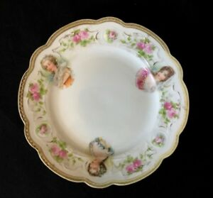 Antique French Portrait Plate Duchess Bourgogne Montpensier Marie Antoinette
