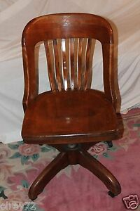 Antique Desk Chair Office Swivel Slat Back Circa Early 1930 S Rare