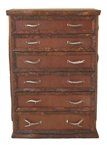 F30703ec Unique Adirondack Style 6 Drawer High Chest