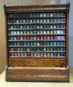 Antique Spool Cabinet Corticelli W 8 Glass Drawers 1 Wood Drawer