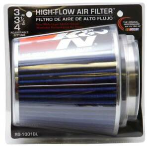K N Universal Air Cone Filter Chrome Round Tapered Blue 3in 4in Fits 3 3 5 4