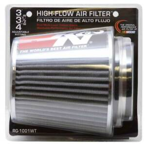 K N Universal Air Cone Filter Chrome Round Tapered White 3in 4in Fits 3 3 5 4