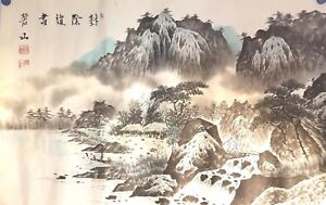 Korean Original Painting Mountain Landscape And Straw Houses