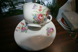 White W Pink Roses Bk Flowers Cup Saucer Bone China Gold Rim Different