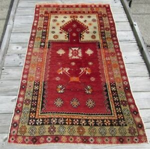 Semi Antique Turkish Prayer Rug W Narrow Mihrab Soft Colors Hand Woven Wool