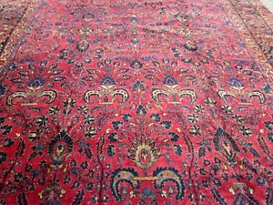 Antique Persian Sarouk Oriental Rug Large10 4 X 14 7absolutely A Great Carpet