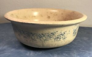 Rare Antique 8 Diameter Blue Decorated Stoneware Primitive Serving Bowl Nice