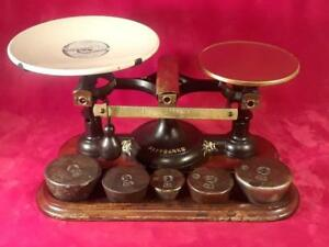 Antique 19th Cty Fairbanks 2 Cast Iron Brass Balance Scale Orig Porcelain Tray
