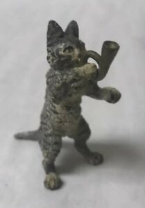 Small Antique Austrian Vienna Cold Painted Bronze Cat Musician Playing Horn