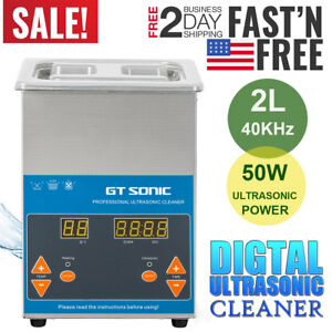Gt Sonic 2l Digital Ultrasonic Cleaner Jewelry Cleaning Heated Heater Watches Us