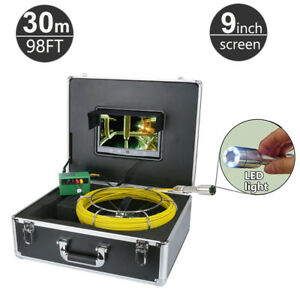 30m 98ft Sewer Snake Camera Pipe Pipeline Drain Inspection System 9 Monitor