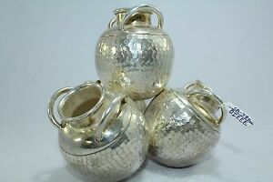 Traditional Handmade 925 Sterling Silver Urn Box Pot Lota Lotha Texture Design
