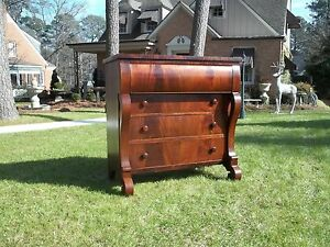 Outstanding Flamed Mahogany American Empire Chest 19th Century