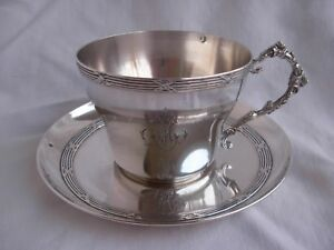 Antique French Sterling Silver Tea Cup Saucer Louis 16 Style 19th Century