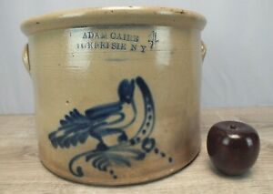 C1880 Bird Decorated Stoneware Crock 4 Gallon By Adam Caire Poughkeepsie Ny