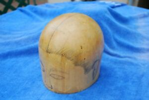 Millinery 22 Head Mold Excellent Condition Hat Stand Wood Midwest Pencil Face