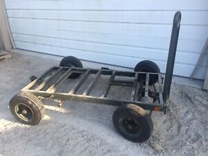 Small Military Trailer 32 x68 Deck Steer Axle Pintle Hitches Brake 4 80x8 Tires