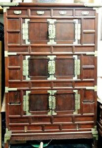 Antique Korean Wood Cabinet With Bronze Fittings And Handles 18th Century