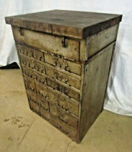 Vintage Industrial 18 Drawer Small Parts Hardware Cabinet W Butcher Block Top