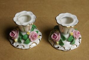 Martha Budich Dresden Porcelain Pink Rose Candle Holders
