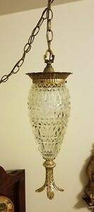 Vintage Mid Century Hollywood Regency Hanging Clear Glass Pineapple Pendant Lamp