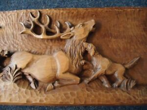 Antique Black Forest Hand Carved Wood Plaque Antlers Wood Carving Red Stag Dog