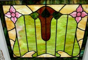 Rare Antique Arts Crafts Stained Glass Window W Flowers Leaves Estate 299