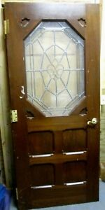 Exterior Interior Solid Wood Door W Bevel Textured Glass 43 Bargain Deal