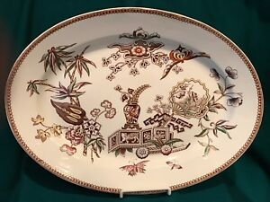 Aesthetic Transferware Platter Brown White With Polychrome Highlights