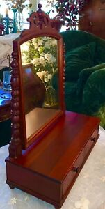 Antique Victorian Dressing Table Top Vanity Tilting Mirror 2 Drawers Cherry Wood