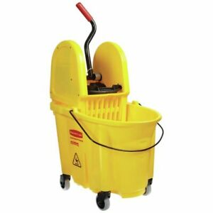 Rubbermaid 35 Qt Yellow Plastic Wavebrake Mop Bucket With Down Press Wringer