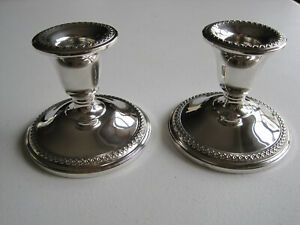 Rogers Sterling Silver Pair Of Weighted Candlesticks 3
