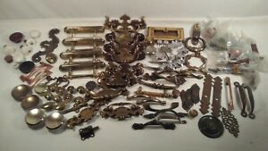 Huge Mixed Lot Vtg Metal Brass Copper Cabinet Drawer Handle Pulls Knobs Hardware