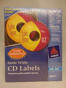 Avery Matte White Cd Labels Ink Jet 8691 100 Disc Labels