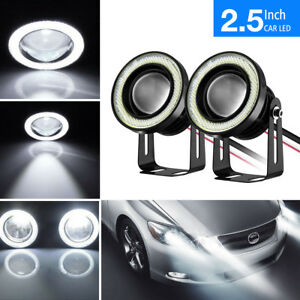 2x 2 5 Car Projector Led Fog Light Cob Halo Angel Eyes Ring Bulbs Lamp White