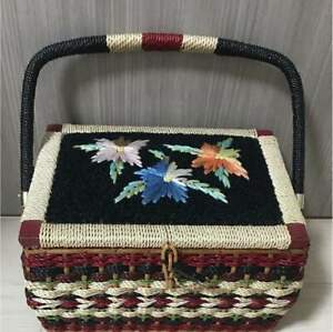 Very Rare Vintage Japanese Rattan Old Sewing Box Accessory Case Flower Kawaii C1