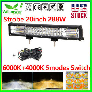 20inch 288w Suv Truck Off Road Car White Amber Dual Color Led Light Bar harness