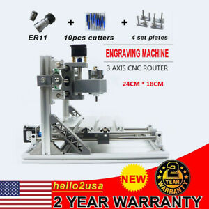 3 Axis Diy Cnc 2418 Mill Wood Router Usb Engraver Pcb Milling Machine Er11 New