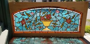 Victorian Era Flower Pot Stained Glass Window