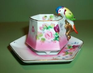 Mk Miniature Parrot Handled Hp Japan Footed Roses Teacup Cup And Saucer