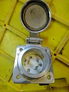 Hubbell Wiring Ground Ss Flanged Locking Inlet marine 30a 125v Hbl303ss